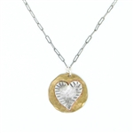 J & I Two Tone Heart Necklace