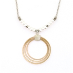J & I 14 Kt. Gold Fill & Silver Circles Necklace