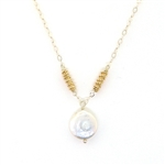 J & I White & Gold Pearl Necklace