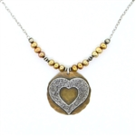 J & I Silver & Bronze Heart Necklace