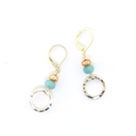 J & I Amazonite & Gold Pearl Earrings