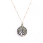 J & I Peace Sign Silver Necklace