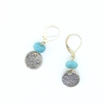 J & I Amazonite Small Disc Earrings