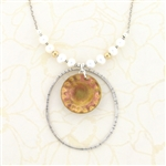 J & I Sterling & Oxidized Brass Disc Pearl Necklace