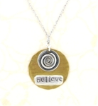J & I Two-Tone Believe Spiral Necklace