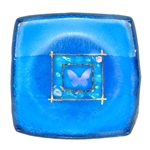 Karen Ehart Art Glass Jewelry Bowl-Butterfly-Caibbean Blue