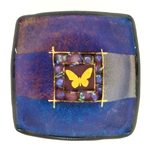 Karen Ehart Art Glass Jewelry Bowl-Butterfly-Purple