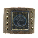 "KBD 2"" Cuff Distressed Brown Leather - Tree of Life Rustic"