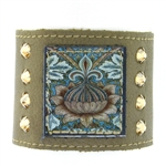"KBD 2"" Cuff Pewter Leather - Pattern Turquoise"