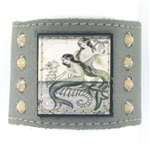 "KBD 2"" Cuff Silver Leather - Mermaids and Swarovski Crystal"