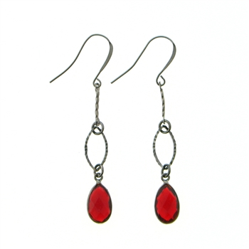 KBD Gunmetal Ruby Red Marquise Earrings