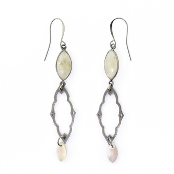 KBD Gunmetal Rutile Quartz, Mother of Pearl Earrings