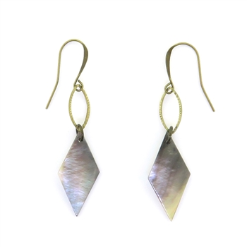 KBD Brass Diamond Mother of Pearl Earrings