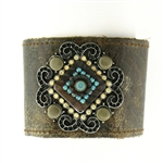 "KBD 2"" Cuff Weathered Brown with Turquoise & Sand Opal"