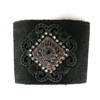 "KBD 2"" Cuff Jet Black Shimmer with Hematite & Clear Crystals"