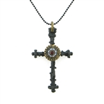 "KBD 34"" Necklace Black Thorn Cross"