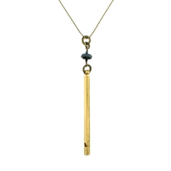 "KBD 34"" Necklace Brass Whistle with Black Onyx"