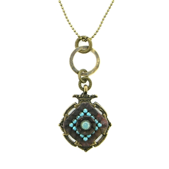 "KBD 34"" Necklace Vintage Pendant with Turquoise"