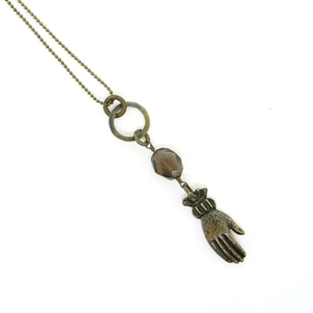 "KBD 34"" Necklace Victorian Hand with Smokey Quartz"