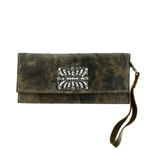 KBD Studio Long Phone Wallet Crystal Deco in Weathered Brown