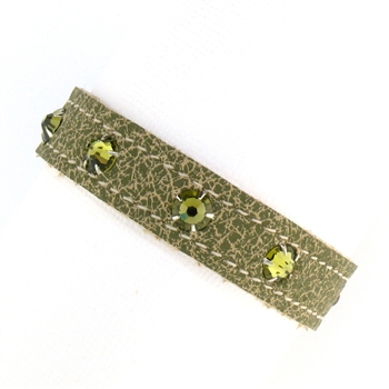 KBD Stacker Cuff Army Leather and Khaki Rhinestones