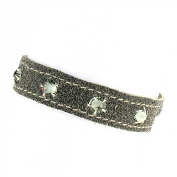 KBD Stacker Cuff Granite Leather and Black Diamond Rhinestones