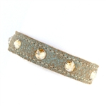 KBD Stacker Cuff Patina Leather and Golden Shadow Rhinestones