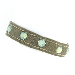 KBD Stacker Cuff Pewter Leather and Pacific Opal Rhinestones