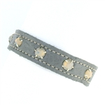 KBD Stacker Cuff Silver Leather and Gray Opal Rhinestones