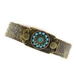 KBD Stacker Cuff Turquoise & Pacific Opal (Weathered Brown)
