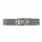 KBD Stacker Cuff Pave Crystal Heart on Pewter