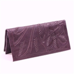 Leaders in Leather Plum Wallet Checkbook Cover