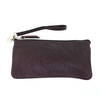 Leaders in Leather Purple Wristlet Zippered Pouch