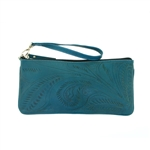 Leaders in Leather Turquoise Wristlet Zippered Pouch