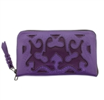 Leaders in Leather Lavendar & Purple Wallet