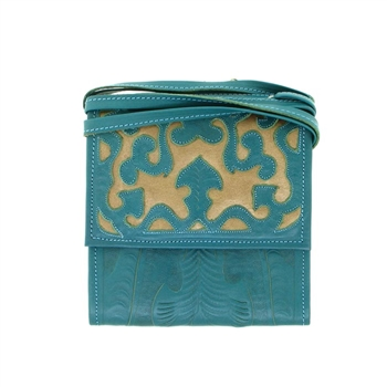 Leaders In Leather Turquoise & Copper Trifold Traveler Bag