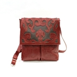 Leaders in Leather Red Walnut Scroll Crossbody with Flap