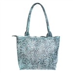 Leaders in Leather Vaquetta Aqua Sheridan Tote