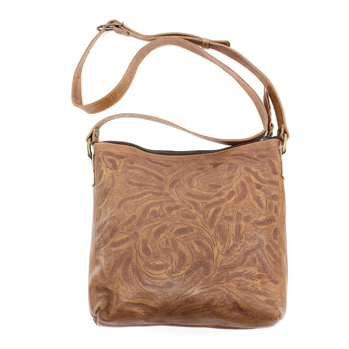 Leaders in Leather Vaquetta Natural Crossbody Bucket Bag 0d9870e272316