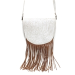Leaders in Leather Vaquetta Bone- Natural Fringe Crossbody