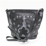Leaders in Leather Black Gunmetal Crossbody Bag
