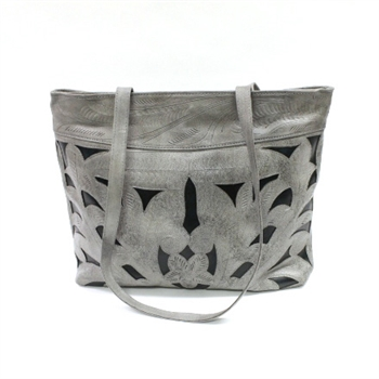 Leaders in Leather Grey & Forest Green Classic Cutout Tote