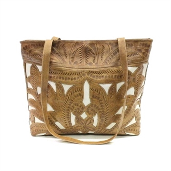 Leaders in Leather Natural & Bone Classic Cutout Square Tote