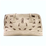 Leaders in Leather Beige and Copper Metallic Rectangle Handbag