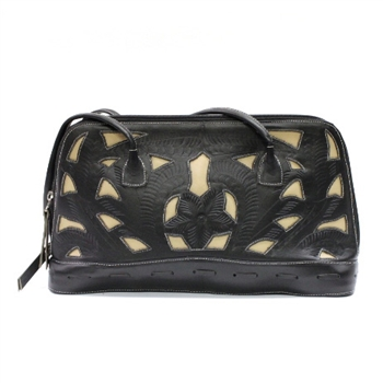 Leaders in Leather Black and Ivory Rectangle Handbag