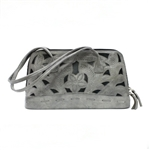 Leaders in Leather Silver and Metallic Blue Rectangle Handbag