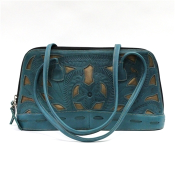 Leaders in Leather Turquoise and Copper Rectangle Handbag