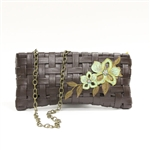 Liz Soto Brown Woven Leather Bag with Flowers