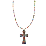Michal Golan Multi-Bright Cross Necklace 1012