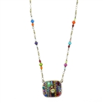 Michal Golan Multi-Bright Square Necklace 1410